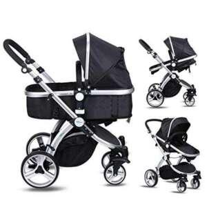 Amzdeal 2 en 1 Poussette pour bébé de 0-3 ans avec Inclinaison du siège et capote réglable, Landau poussette pliable à 4 roues et nacelle bébé pour promenade, voyage de la marque Amzdeal image 0 produit
