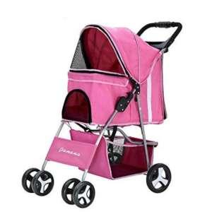 Anaelle Pandamoto Poussette Chariot pour Chien Chat Animaux Pliable Imperméable en Nylon, Taille: 75 x 45 x 97cm, Poids: 5kg (Rose) de la marque Panana image 0 produit