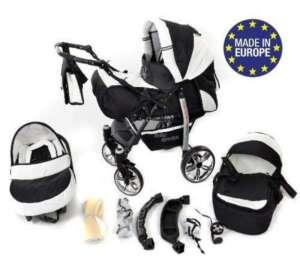 Baby Sportive - Landau pour bébé avec roues pivotables + Siège Auto - Poussette - Système 3en1, incluant sac à langer et protection pluie et moustique - Noir et Blanc de la marque Baby Sportive image 0 produit