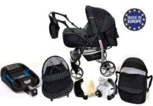 Baby Sportive Système de voyage 3 en 1 avec landau, siège auto, poussette et accessoires bébé (Noir/pois blancs) de la marque Baby Sportive image 0 produit
