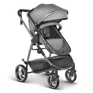 besrey poussette 2 in 1 - pour les enfants de 0 à 3 ans (max.15kg) - avec roues antichoc et housse de pluie transparente - Gris de la marque besrey image 0 produit