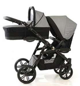 Chariot double (Gemelar) enfants différents âges. 2chaises + 1panier + accessoires. Gris de la marque BBtwin image 0 produit
