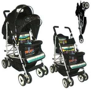 DUO Double buggy Twin 2 Tandem poussette poussette siège 2 unités, mensonge entièrement inclinable vers l'arrière pour nouveau-né, avant correction siège de 6 mois. Complète avec habillage pluie. Bande de Candy par Kids Kargo... de la marque Kids Kargo image 0 produit
