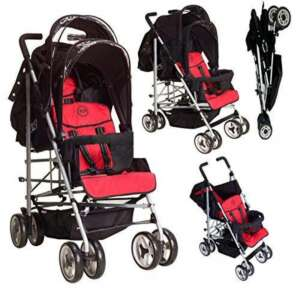 DUO Double buggy Twin Tandem Pushchair stroller 2 seat units, fully reclining lie back at the rear for newborn, front fixed seat from 6 months. Complete with rain cover. Silver Chassis Black/BERRY by Kidz Kargo de la marque Kids Kargo image 0 produit