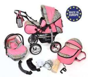 Kamil - Landau pour bébé + Siège Auto - Poussette - Système 3en1, incluant sac à langer et protection pluie et moustique - ROUES NON PIVOTABLES (Système 3en1, rose et Léopard) de la marque Baby Sportive image 0 produit