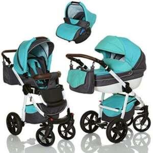 LCP Kids Poussette combinee 3en1 LUCATO eco cuir pour bebe et enfant 0-36 moins pliable avec module canne et siege auto groupe 0+ du 0 a 13 kg - bleu Oriental de la marque LCP Kids® image 0 produit