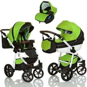 LCP Kids Poussette combinee 3en1 LUCATO eco cuir pour bebe et enfant 0-36 moins pliable avec module canne et siege auto groupe 0+ du 0 a 13 kg - vert noir de la marque LCP Kids® image 0 produit