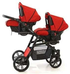 Onyx Tandem Poussette double pour jumeaux avec sièges, nacelles, sièges auto groupe 0et accessoires Rouge de la marque BBtwin image 0 produit