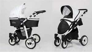 Poussette aluminium noir et blanc combinée trio 3 en 1 ultra légère avec cosy siège auto nacelle siège poussette et ombrelle offerte de la marque Solenzo image 0 produit