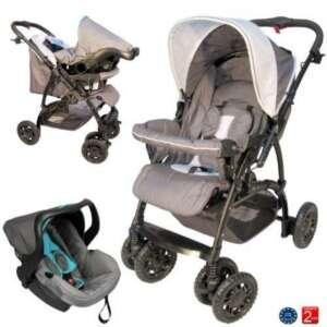 Poussette bébé 4 roues combiné 2en1 (poussette+siège auto Groupe 0+) - Guidon réversible - Coloris : gris, bleu de la marque Bebeachat image 0 produit