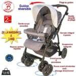 Poussette bébé 4 roues combiné 2en1 (poussette+siège auto Groupe 0+) - Guidon réversible - Coloris : gris, bleu de la marque Bebeachat image 1 produit