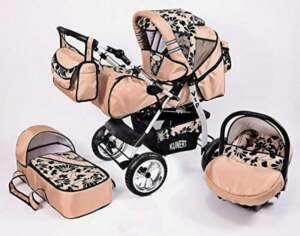 Poussette bébé combinée 3 en 1 corail fleurie avec siège cosy et ombrelle offerte de la marque VIP image 0 produit
