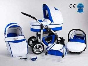 Poussette bleu et blanche bébé naissance combinée 3 en 1 siège cosy et ombrelle offerte (Bleu et blanche) de la marque Silver image 0 produit