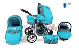 Poussette bleu et blanche bébé naissance combinée 3 en 1 siège cosy et ombrelle offerte (Bleu mosaïque) de la marque Silver image 0 produit
