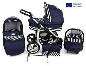 Poussette bleu et blanche bébé naissance combinée 3 en 1 siège cosy et ombrelle offerte (Bleu rayée) de la marque Silver image 0 produit