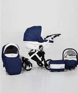 Poussette combinée 3 en 1 trio siège auto nacelle poussette promenade + ombrelle offerte plusieurs couleurs au choix (Bleu marine et blanc) de la marque Lavado image 0 produit