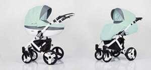 Poussette combinée 3 en 1 trio siège auto nacelle poussette promenade + ombrelle offerte plusieurs couleurs au choix (Vert d'eau) de la marque Lavado image 0 produit