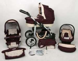 Poussette combinée bordeau 3 en 1 avec poussette+nacelle+siège auto+sac à langer+ombrelle offerte de la marque Silver image 0 produit