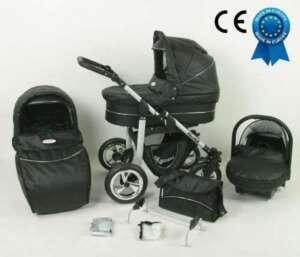 Poussette combinée noire en cuir écologique 3 en 1 avec poussette+nacelle+siège auto+sac à langer+ombrelle offerte de la marque Silver image 0 produit
