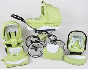 Poussette combinée vert menthe et blanc 3 en 1 rétro avec poussette grandes roues nacelle et siège cosy auto+ombrelle offerte de la marque Romantic image 0 produit