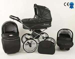 Poussette noire 3 en 1 cuir écologique siège poussette nacelle et siège cosy auto+ombrelle offerte de la marque Romantic image 0 produit