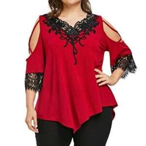 SANFASHION Femmes Neuf T-Shirt Dentelle épaule Nu Tops à Mignon Manches 1/2 Blouse Grande Taille Chemises Casual de la marque SANFASHION image 0 produit