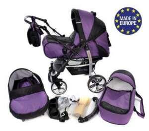 Sportive X2 - Landau pour bébé + Siège Auto - Poussette - Système 3en1 + Accessoires (Système 3en1, violet, noir) de la marque Baby Sportive image 0 produit