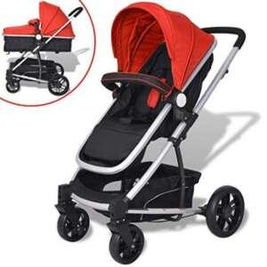 VidaXL 2en 1Poussette Poussette Bébé Baby Jogger Poussette de voyage aluminium rouge/bleu/gris de la marque vidaXL image 0 produit