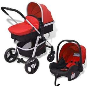 VidaXL 3en 1Poussette pour bébé enfant Aluminium Rouge/bleu/gris + Noir de la marque vidaXL image 0 produit